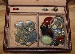 Two boxes of costume jewellery, two lady's 9ct gold cased wrist watches and a 9ct gold watch strap.