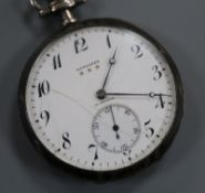 A 900 standard white metal and niello Longines keyless dress pocket watch, with Arabic dial and