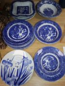 A set of six blue and white Iris plates and a collection of Willow pattern ceramics