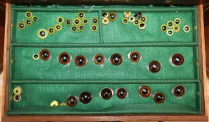 A collector's chest containing various eyes