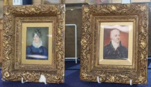 Early 19th century English School, two oil on ivory miniatures of George Nigel Edwards and his
