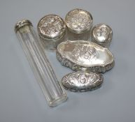 An Edwardian repousse silver trinket box, Birmingham, 1905 and five assorted silver mounted glass