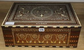 An inlaid hardwood toilet box length 46cm