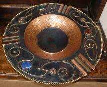 Sam Fanaroff. A circular footed copper bowl inset three cabochon stones, numbered 008 diameter 45cm