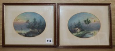 Late 19th century Anglo Chinese School, two oils on card, Waterside scenes, ovals, 13 x 16.5cm