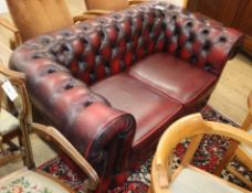 A Thomas Lloyd leather button back chesterfield W.160cm
