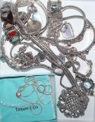 A small group of assorted white metal and 925 jewellery, including hardstone bracelet.