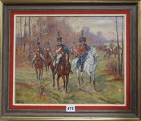 Albert Lepreux (French 1868-1959), oil on canvas, Cavalry in woodland, signed, 33 x 41cm