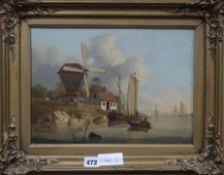 Attributed to John Thomas Serres (1759-1825), oil on canvas, Windmill on the East Coast, signed