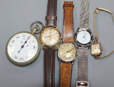 Four assorted wrist watches including Wirz and a base metal W.S.B.C. stopwatch.