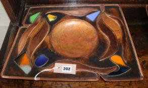 Sam Fanaroff. A rectangular enamelled copper dish, numbered 008 length 45cm
