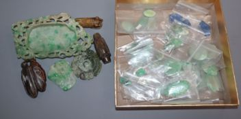 Six assorted Chinese hardstone cameos and a quantity of unmounted stones