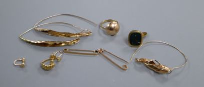 A small group of yellow metal jewellery including 585, 9ct and 15ct.