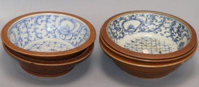Five 19th century Chinese Batavia ware wash bowls