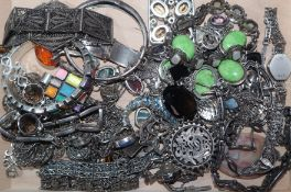 A group of assorted white metal jewellery including marcasite watch etc.