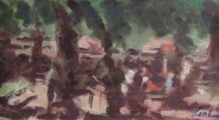 Hayward Veal (1913-1968), oil on board, Abstract landscape, 25 x 44cm