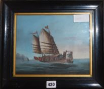 Late 19th century Chinese School, gouache on card, Junk at sea, 19 x 24cm