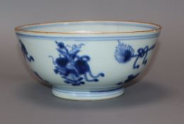 A Chinese Kangxi period blue and white bowl diameter 16cm