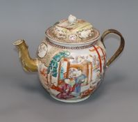 A large Chinese famille rose teapot, Qianlong period, replacement metal handle height 19cm