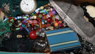 A chainmail bag, enamel powder compact, mixed costume jewellery etc