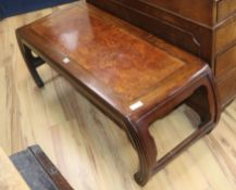 A Chinese Hongmu and burr wood low table W.121cm