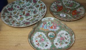 Four Chinese famille verte plates/dishes, 19th century largest diameter 34cm