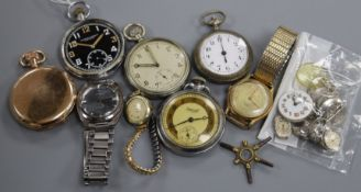 Two chrome cased military pocket watches and other pocket watches and movements etc.