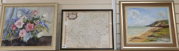 Robert Morden, coloured engraving, Map of Hertfordshire, 37 x 49cm, an oil still life by Joan