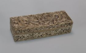 A Chinese plated quill box length 20cm