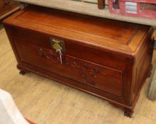 A campherwood box ottoman W.114cm