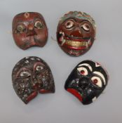 Four traditional Indonesian masks, East Java