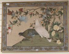A silkwork panel of doves 81 x 110cm excl. frame