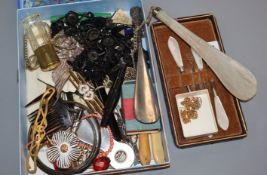 A collection of mixed costume jewellery, loose beads etc