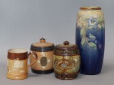 A Doulton vase, two tobacco jars and a stoneware mug tallest 25cm