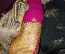 An Indian gold thread embroidered shawl, a sari, embroidered edging etc