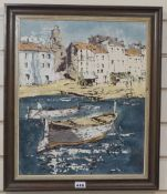 Bernard Dufour, oil on board, Fishing boats in harbour, signed, 44 x 36cm