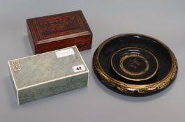 A shagreen cigarette box and three lacquer items