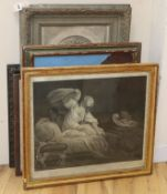 After Fragonard, engraving, La Resistance Inutile, 45 x 54cm, together with a group of assorted