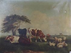 Louise Johnson (19th C.) oil on canvas, Cattle and sheep in a meadow, signed and dated 1868, 46 x
