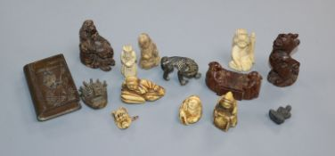A quantity of Chinese carvings, netsukes etc.