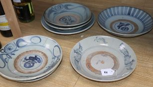 Seven Chinese 'Kitchen Ming' blue and white dishes