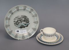 Eric Ravilious for Wedgwood travel series plate, and a Persephone cup, saucer and plate