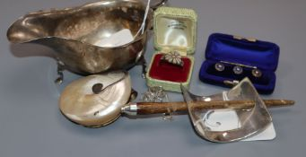 A silver sauceboat, a set of three pearl-set cased dress studs and various silver and shell