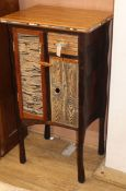 A contemporary painted wood side cabinet, monogrammed T.W. W.60cm