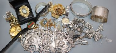 A collection of silver, silver jewellery, costume jewellery, wristwatches, etc, including a Dior