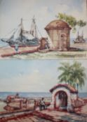 Alfred Jung, folio of watercolours, mostly European topography, largest 30 x 40cm