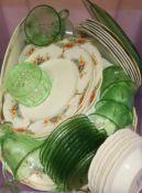 J & G Meakin 'Sunshine' pattern teawares and green glass
