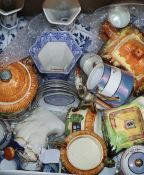 A quantity of porcelain including Chinese blue and white plate, Staffordshire etc.