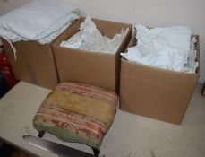 A quantity of assorted linen and footstool