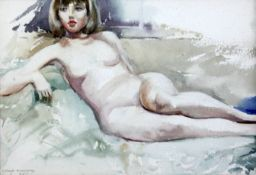 Arthur Bradbury (1892-1977)watercolour,Study of a reclining nude,signed and dated 1965,7 x 10.5in.